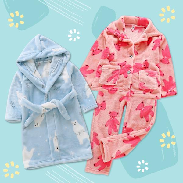 超柔軟珊瑚絨☆質感浴袍睡衣