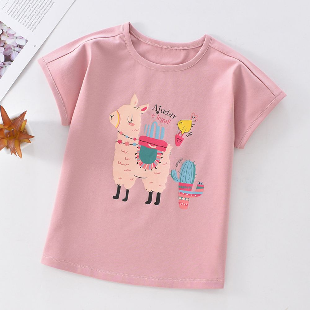 FitUrBabe - 彈力棉質短袖上衣-可愛羊駝-粉色