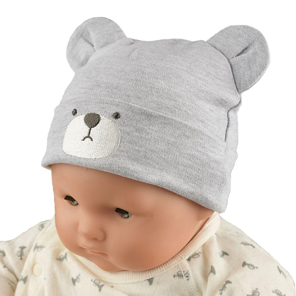 akachan honpo - 小熊刺繡帽-灰色 (36~40cm)