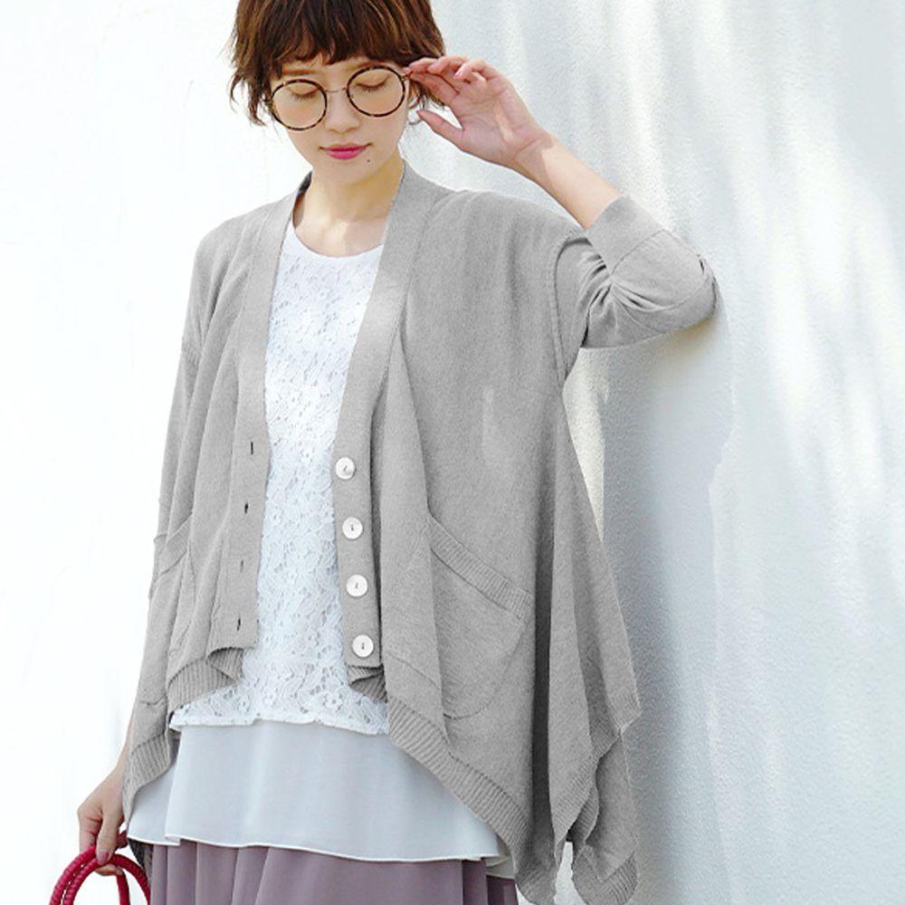 日本 zootie - 涼感防曬速乾 不規則剪裁罩衫/外套-氣質灰