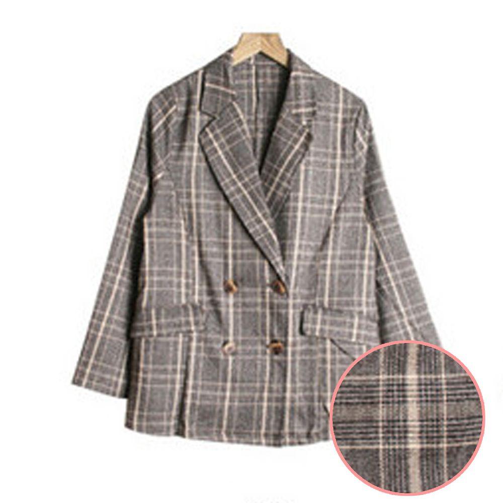 日本服飾代購 - 格紋雙排釦毛呢格紋西裝外套-咖啡底X米色線 (M(Free size))