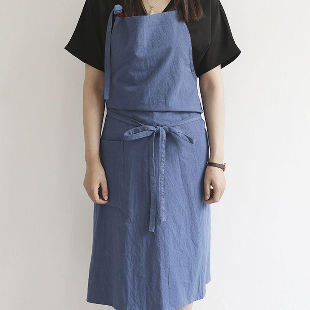 率性扣帶水洗棉麻圍裙-藍色