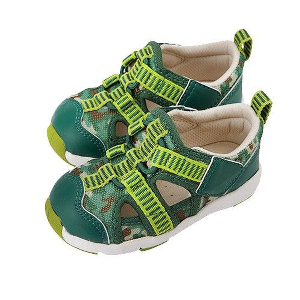日本 Combi - 機能學步鞋-活力迷彩幼兒機能涼鞋-寶寶段-青草綠