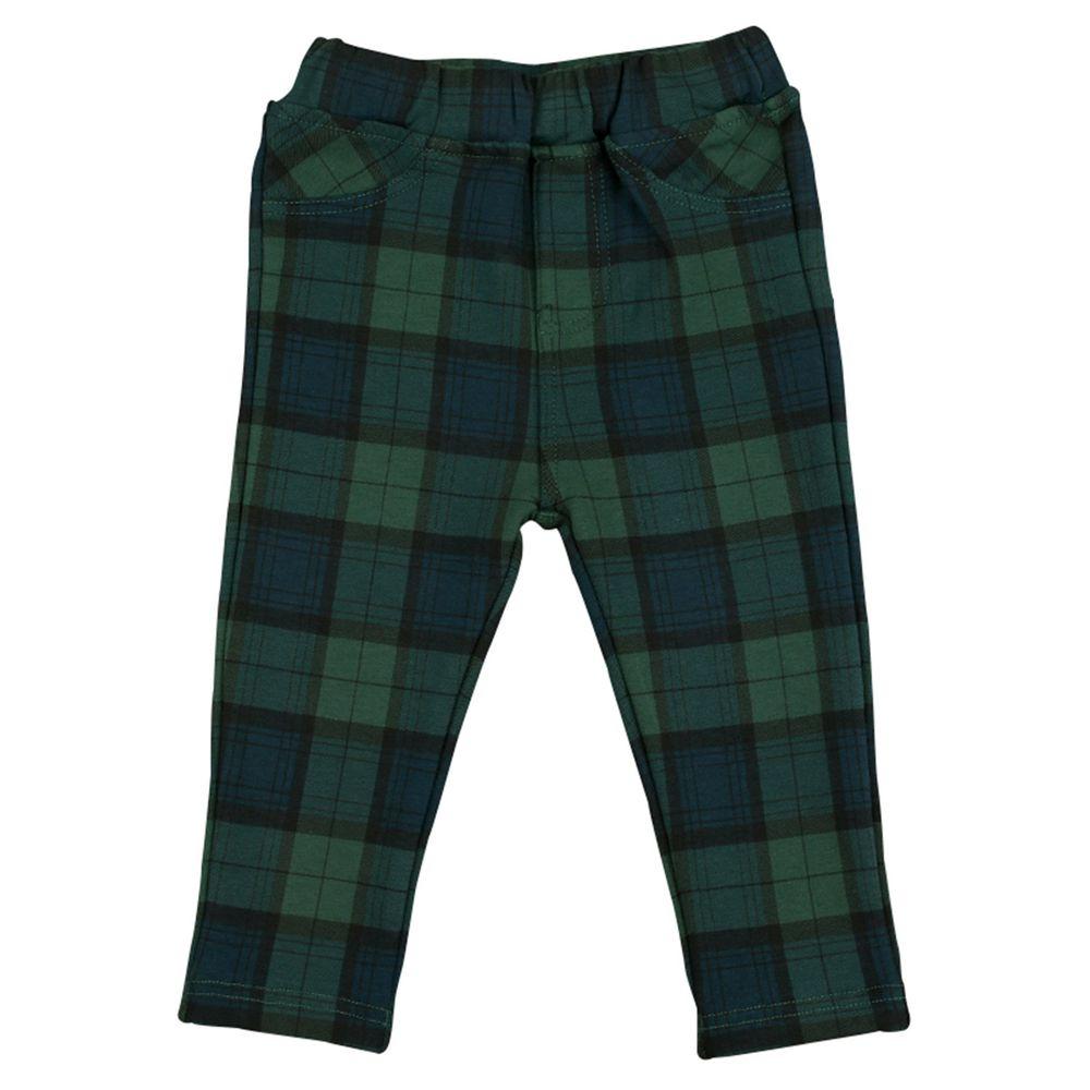 akachan honpo - 10分彈性長褲-花紋-綠色