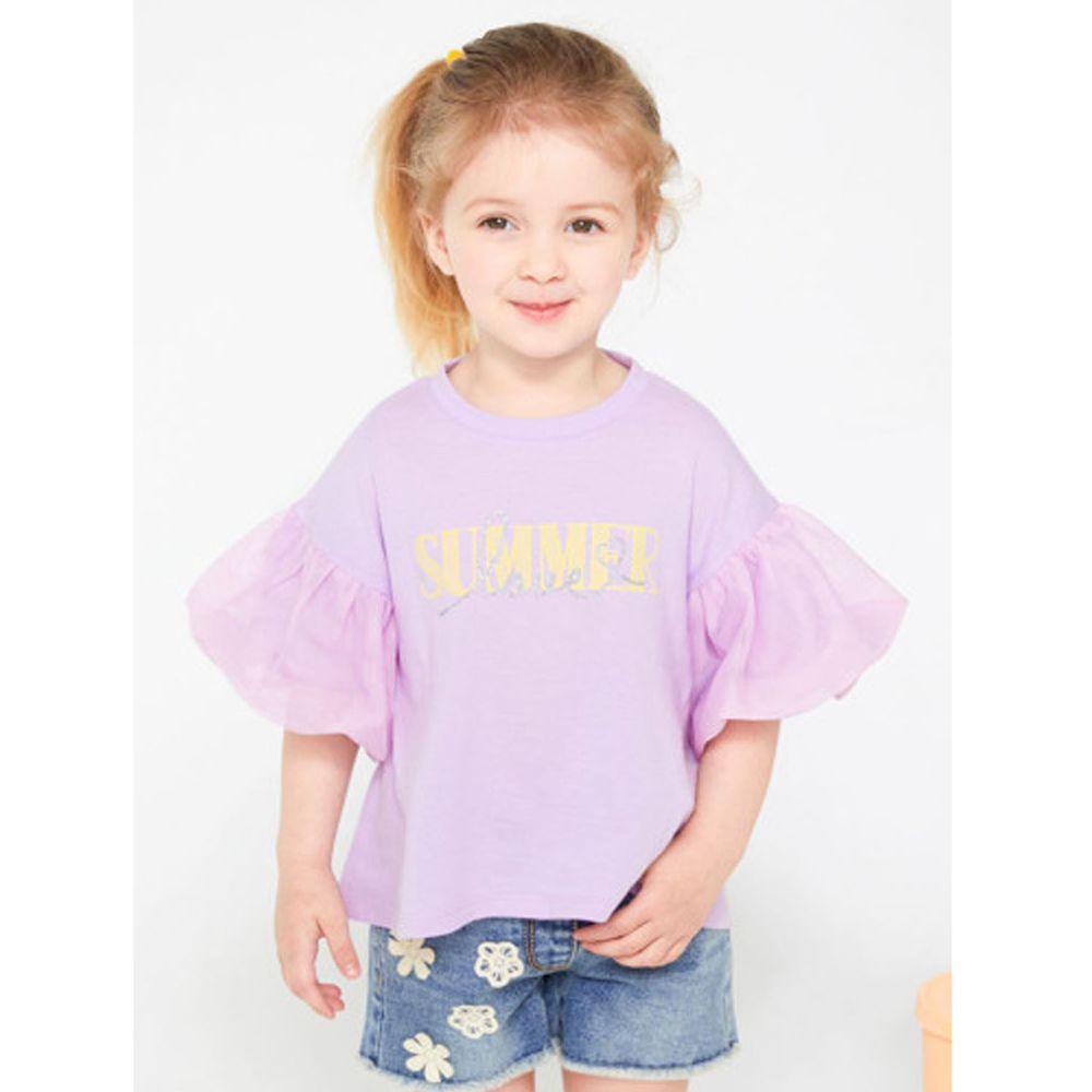 韓國 Jelispoon - 網紗泡泡袖落肩T-淺紫