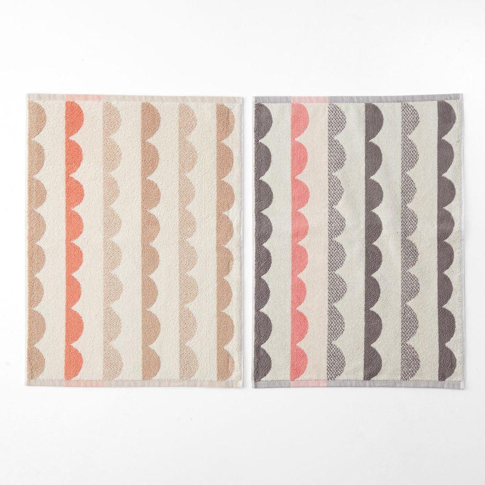 日本千趣會 - 純棉北歐風吸水毛巾腳踏墊(兩入組)-鋸齒波浪-杏X灰色系 (45*60cm)