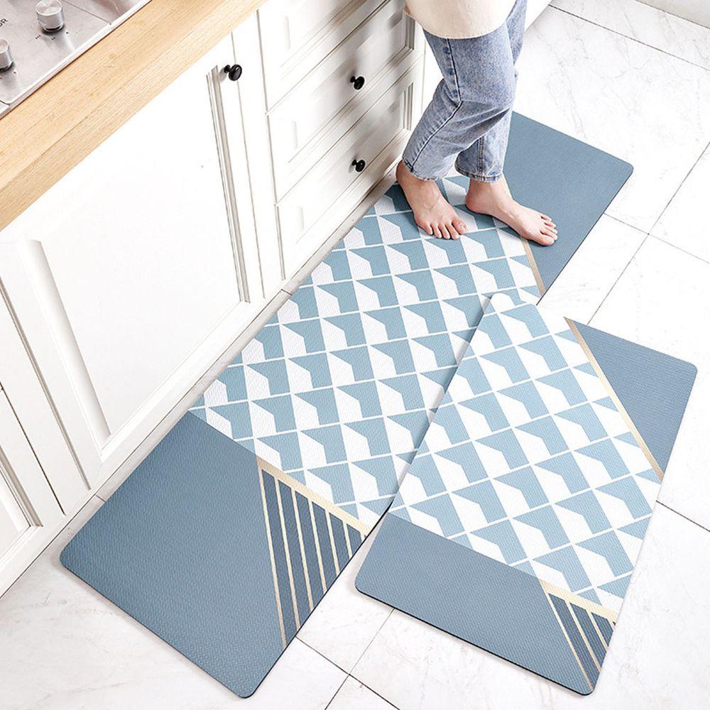 廚房仿皮革PVC防水腳踏墊-格紋水藍-藍色
