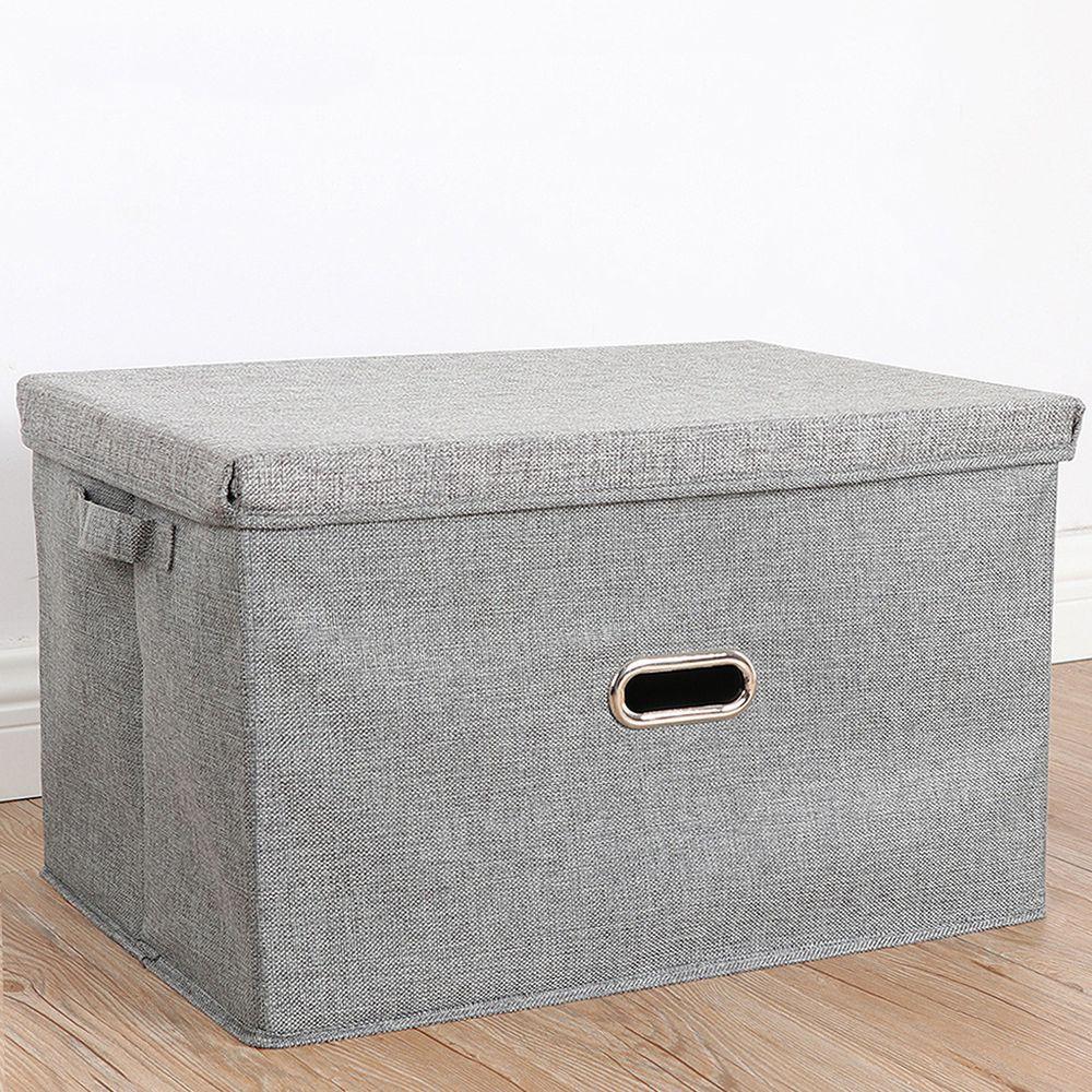 棉麻折疊收納箱-灰色
