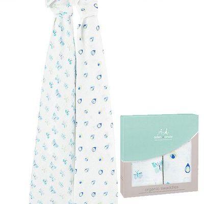 有機棉包巾(2入)-蝶舞紛飛