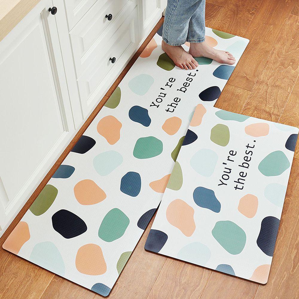 廚房仿皮革PVC防水腳踏墊-彩色色塊