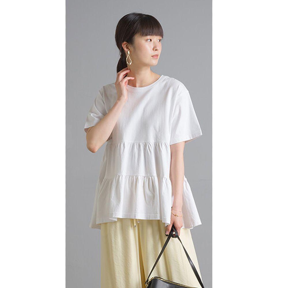 日本女裝代購 - 蛋糕純棉短袖上衣-白 (Free size)
