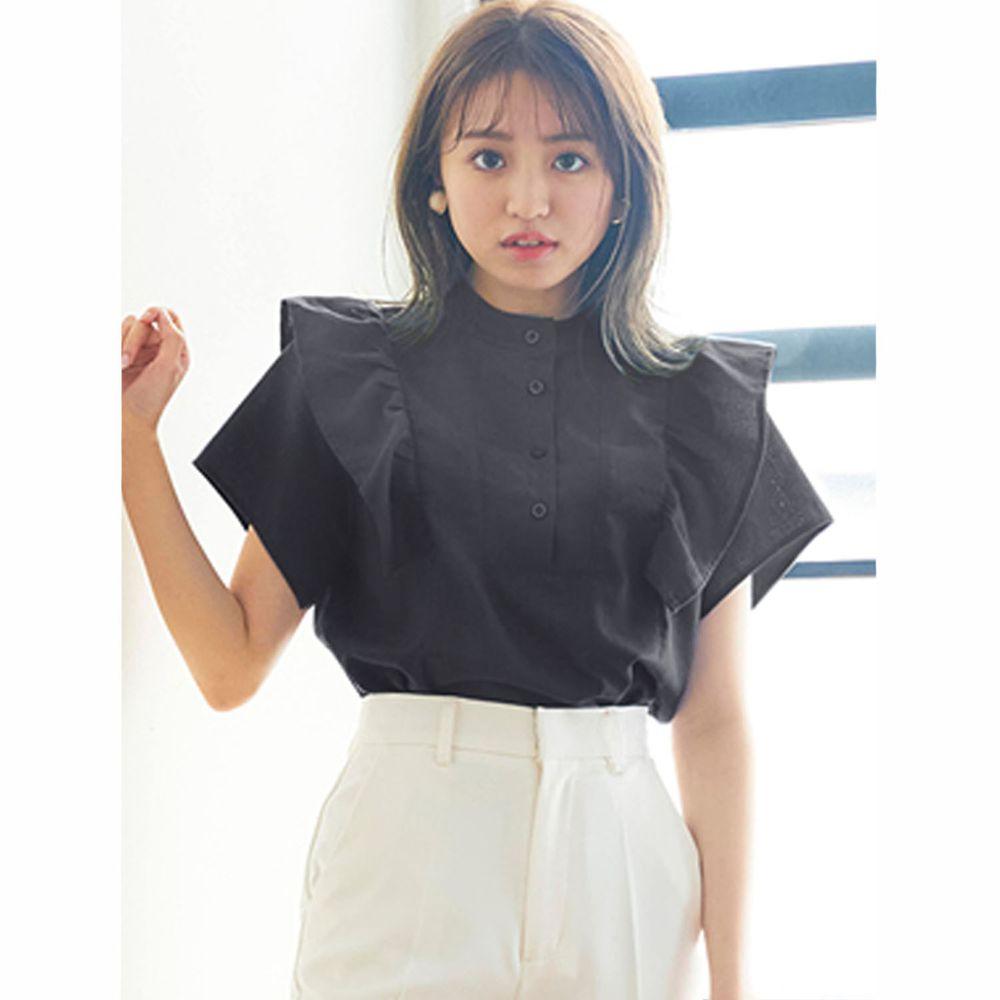 日本 GRL - 排釦圓領荷葉邊設計短袖上衣-時尚黑