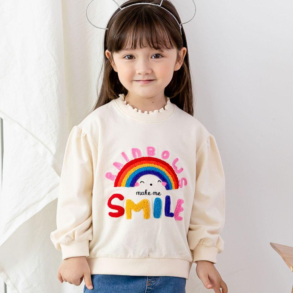 韓國 ERU - 彩虹泡泡袖T-象牙白