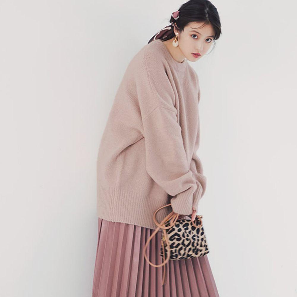 日本 GRL - 明星聯名款 慵懶寬鬆超長袖長版毛衣-櫻花粉