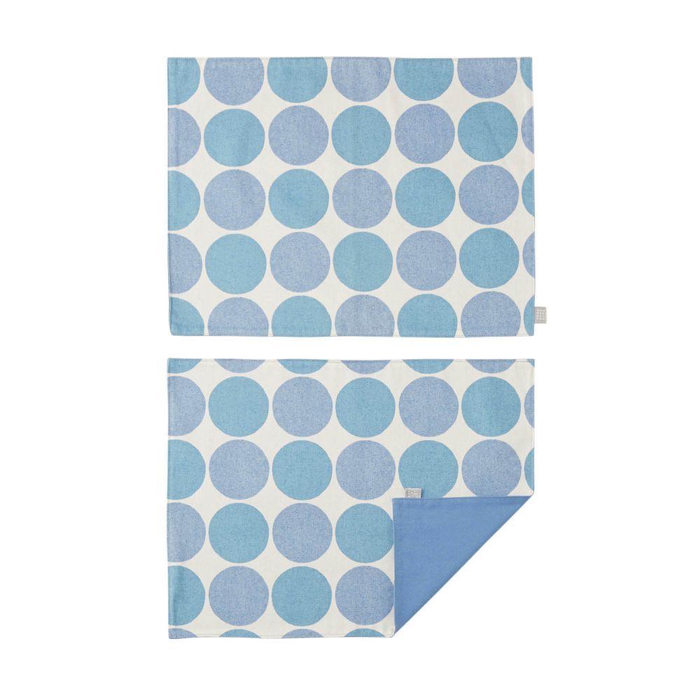 日本千趣會 - 日本製 純棉餐墊兩入組-普普圓點-水藍 (46x35cm)