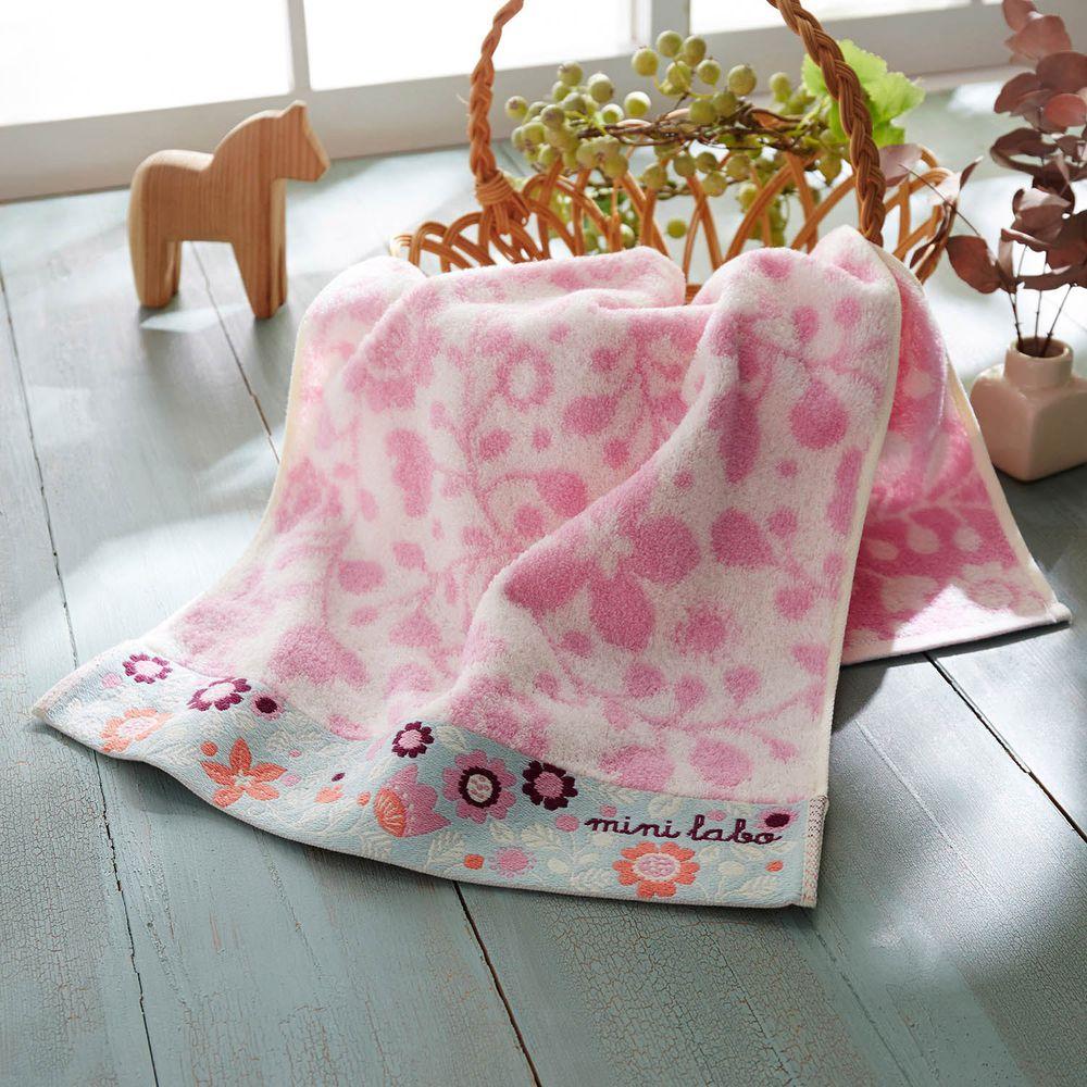 日本千趣會 - mini labo 法式浪漫無燃系純棉長毛巾-粉紅 (34x80cm)