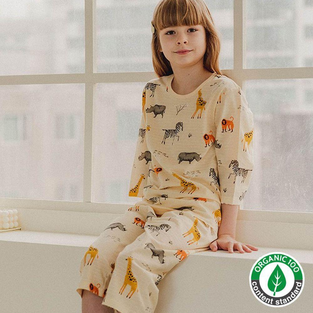 韓國 Mavarm Organic - 有機棉透氣七分袖家居服-草原動物