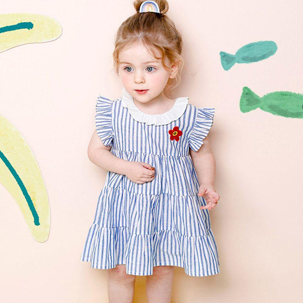 韓國 milk mile - 微笑花朵條紋拼接感洋裝