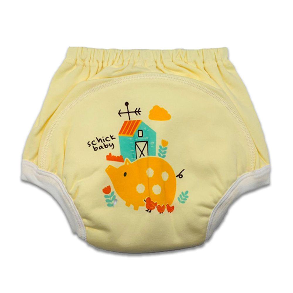 MIT台灣製 - 嬰幼兒學步褲(學習褲)-小豬黃