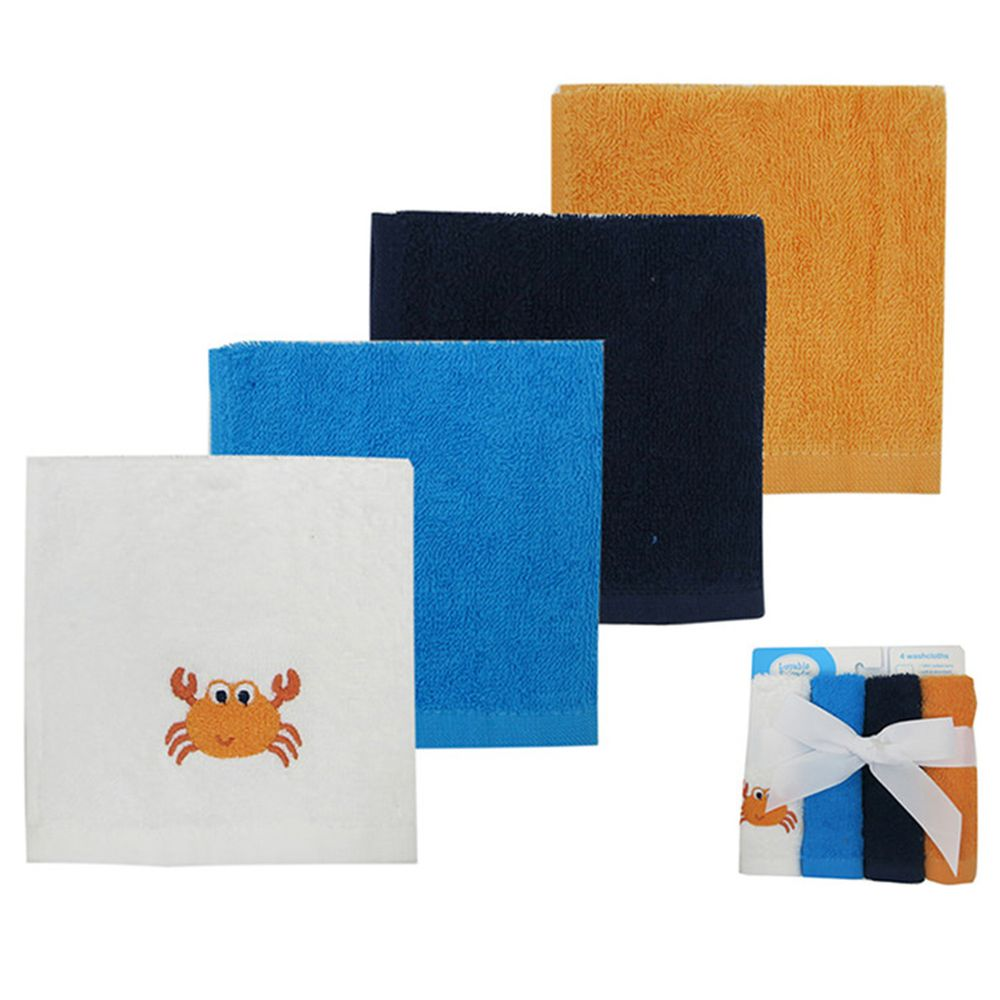 美國 Luvable Friends - 嬰幼兒方巾4入組-素色螃蟹