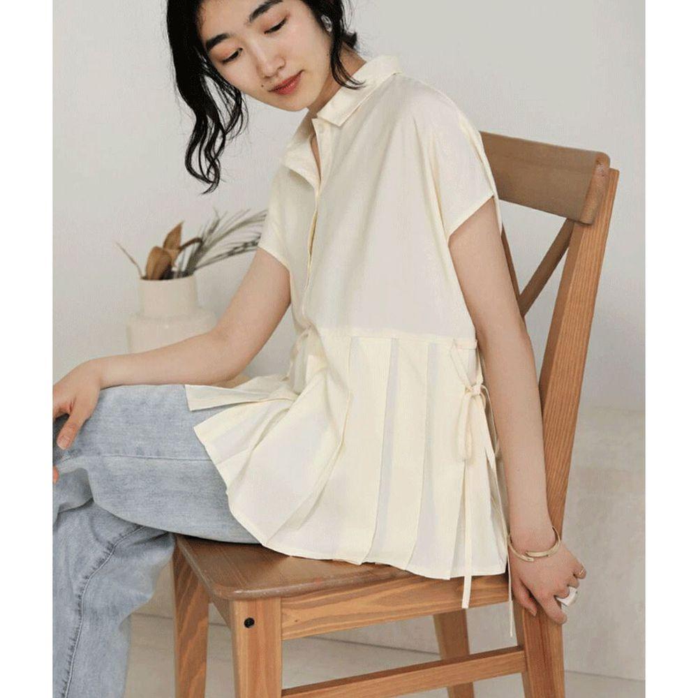 日本 Bou Jeloud - 百褶設計綁帶短袖襯衫-杏