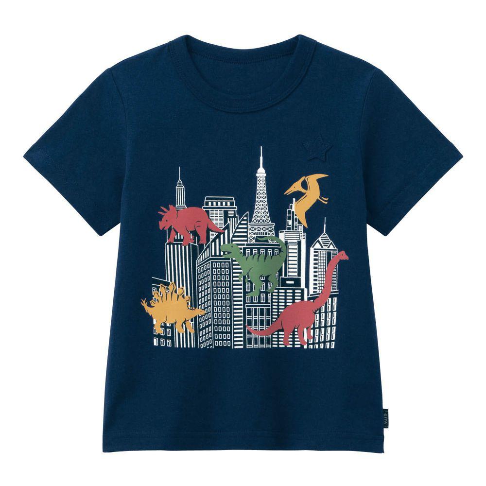 日本千趣會 - GITA 天竺棉印花短T-恐龍與摩天大樓-深藍