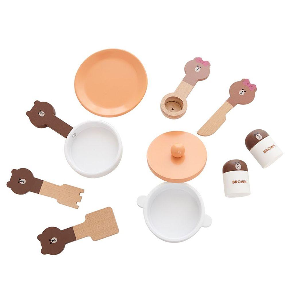 Kikimmy - LINE FRIENDS 木製玩具廚房餐具組9件組