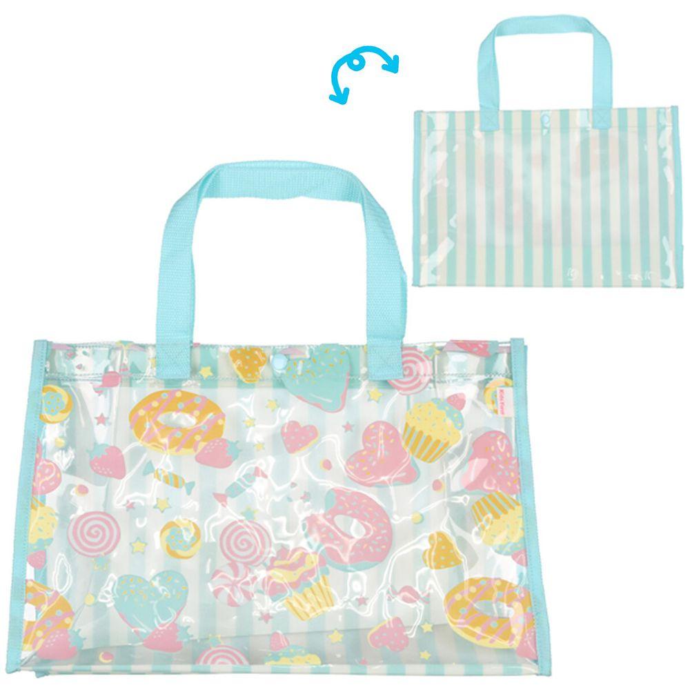 日本服飾代購 - 防水PVC游泳包(雙面圖案設計)-甜甜圈-水藍 (25x36x13cm)