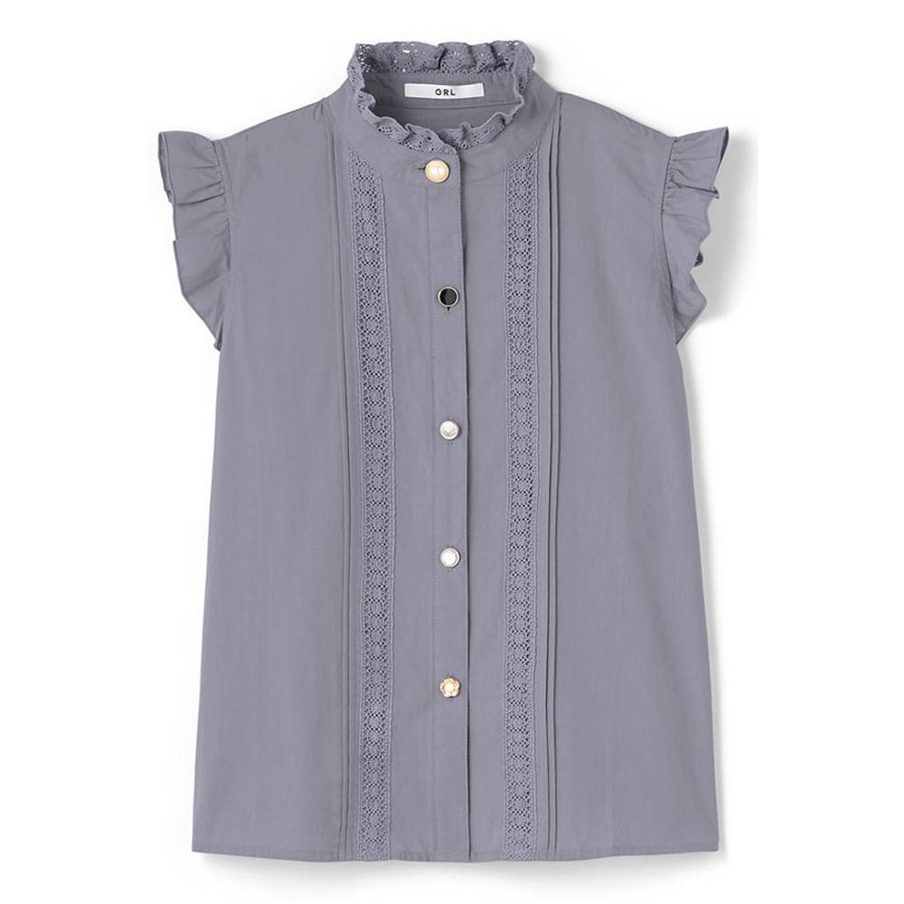 日本 GRL - 不規則排扣蕾絲小飛袖無袖襯衫-星塵藍 (M)