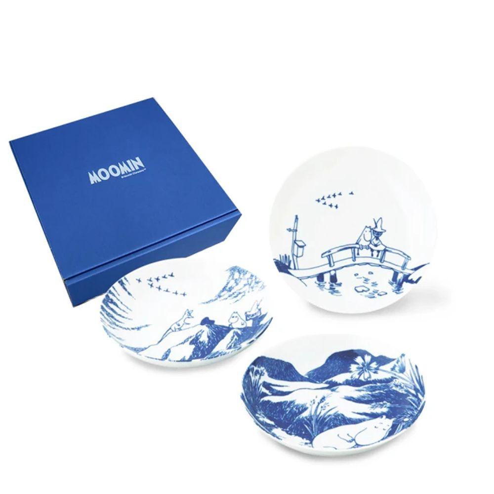 日本山加 yamaka - moomin 嚕嚕米彩繪陶瓷深盤禮盒-MM2700-139-3入組
