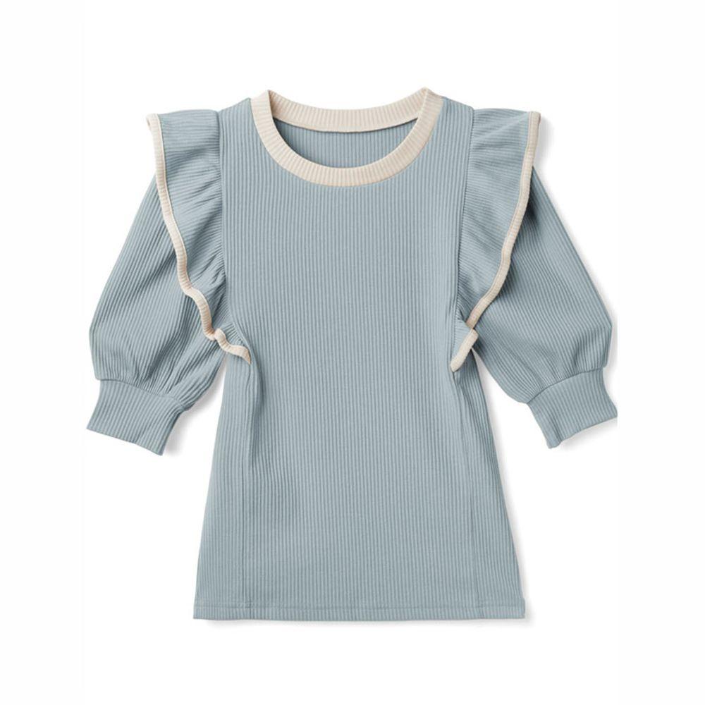 日本 GRL - 配色設計荷葉邊五分袖羅紋上衣-寶貝藍