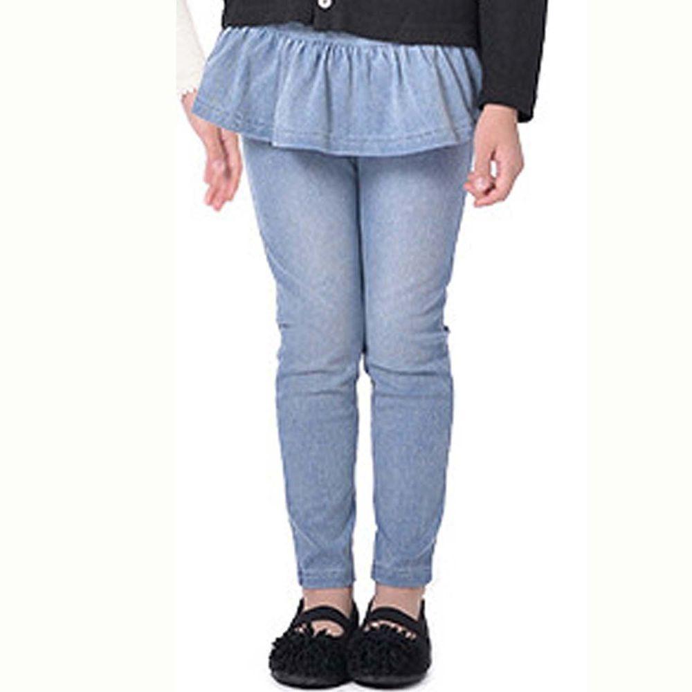 日本 TORIDORY - 百搭牛仔褲-荷葉小裙-水藍