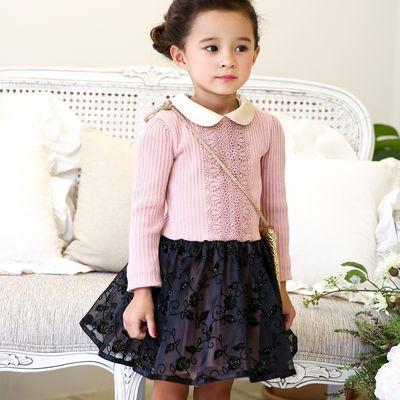 玫瑰紗裙拼接針織洋裝-櫻花粉