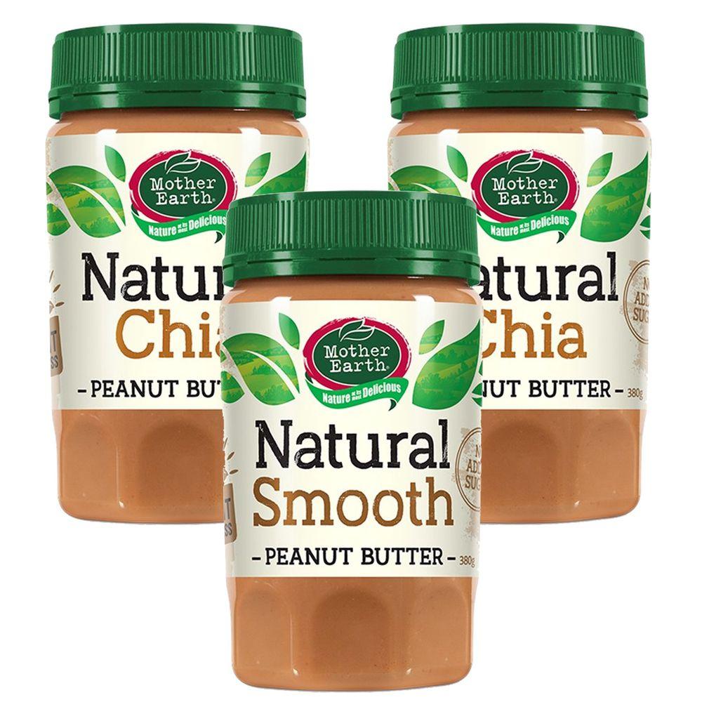 壽滿趣 - 紐西蘭Mother Earth超級花生醬3瓶組-絲滑1+奇亞籽2 (380gx3)