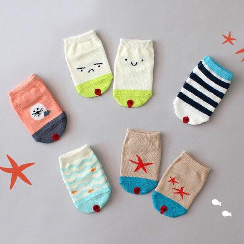 韓國 Kokacharm - 韓國製船型襪-五件組-Beach socks