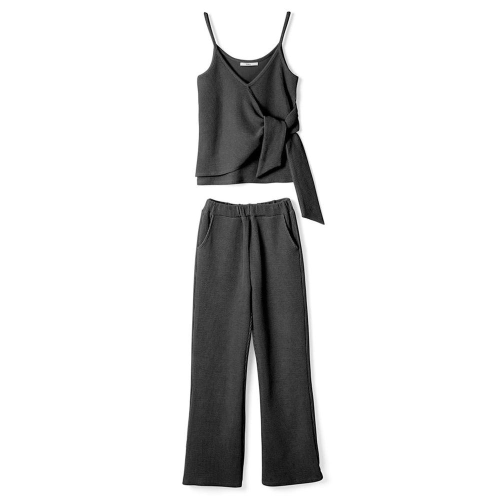 日本 GRL - 隨性綁帶細肩帶背心X長褲套裝-時尚黑