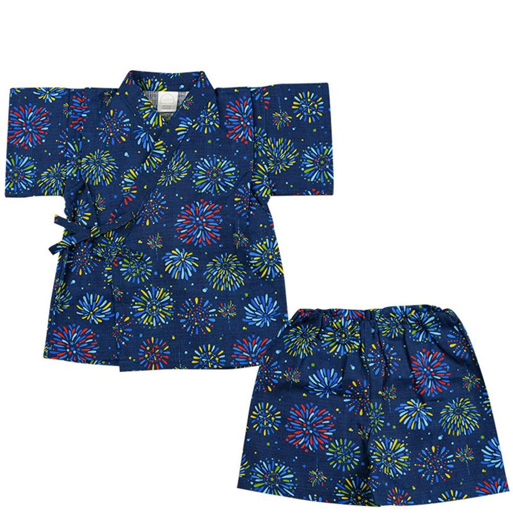 akachan honpo - 幼童兩件式甚平-煙火-深藍色