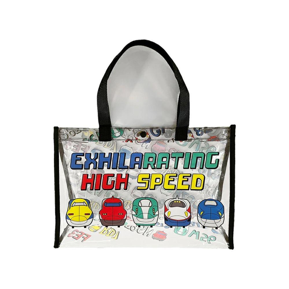 日本服飾代購 - 防水PVC游泳包(雙面圖案設計)-五款經典新幹線-黑 (25x36x13cm)