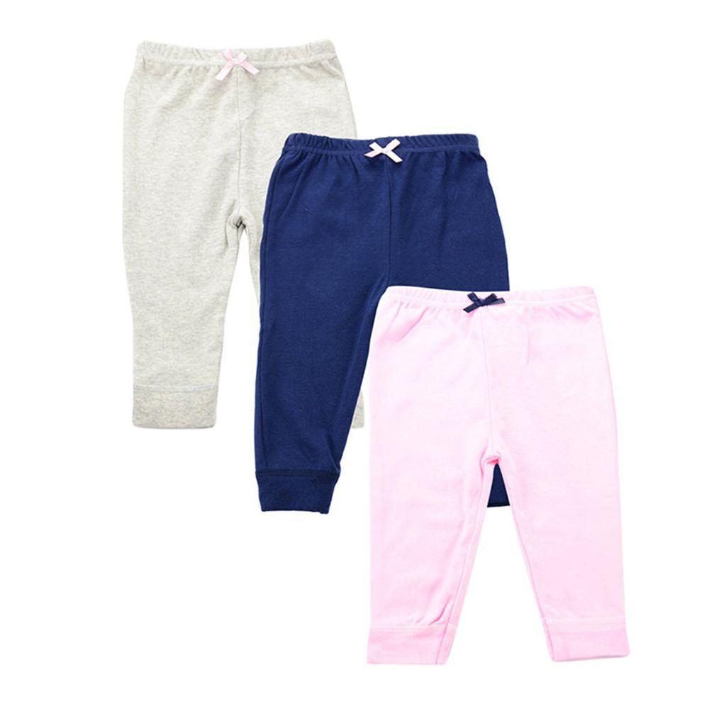 美國 Luvable Friends - 100%純棉嬰幼兒長褲3件組-灰藍粉