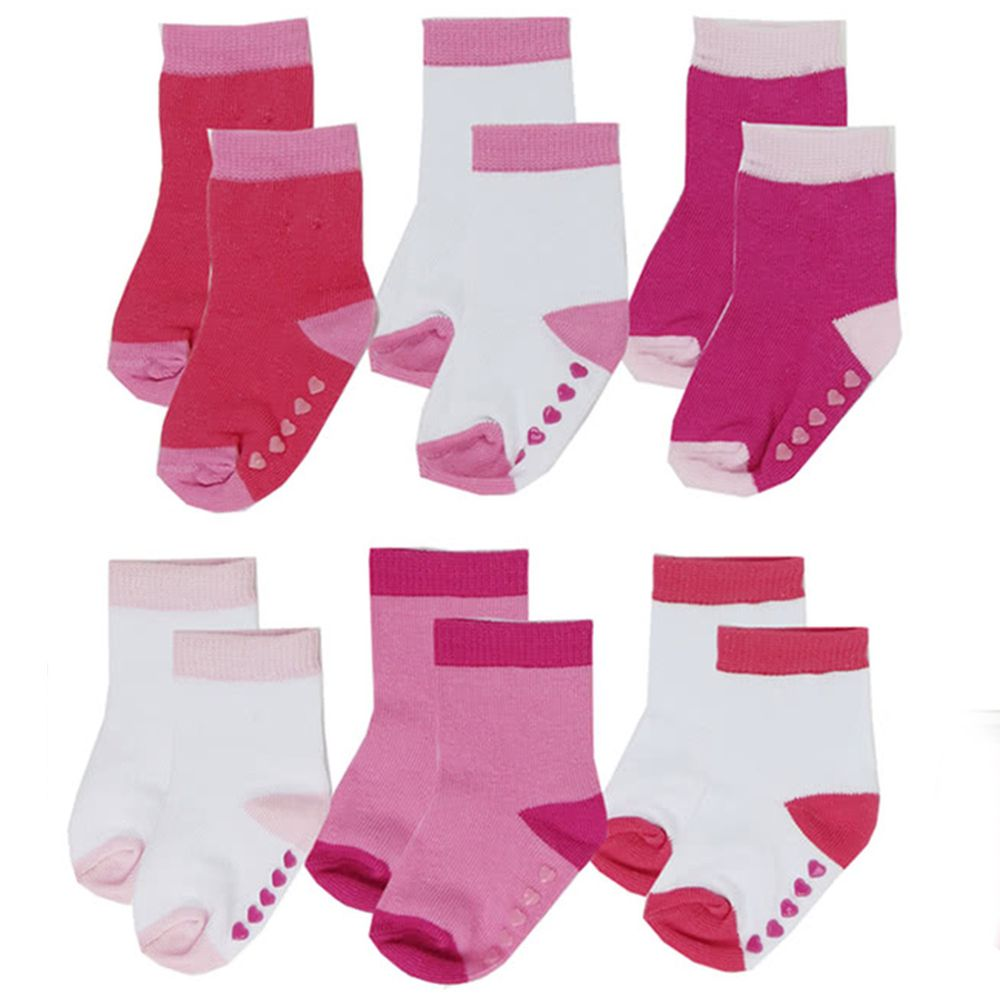 美國 Luvable Friends - 嬰兒襪/寶寶襪/初生襪 6入組-素面桃色