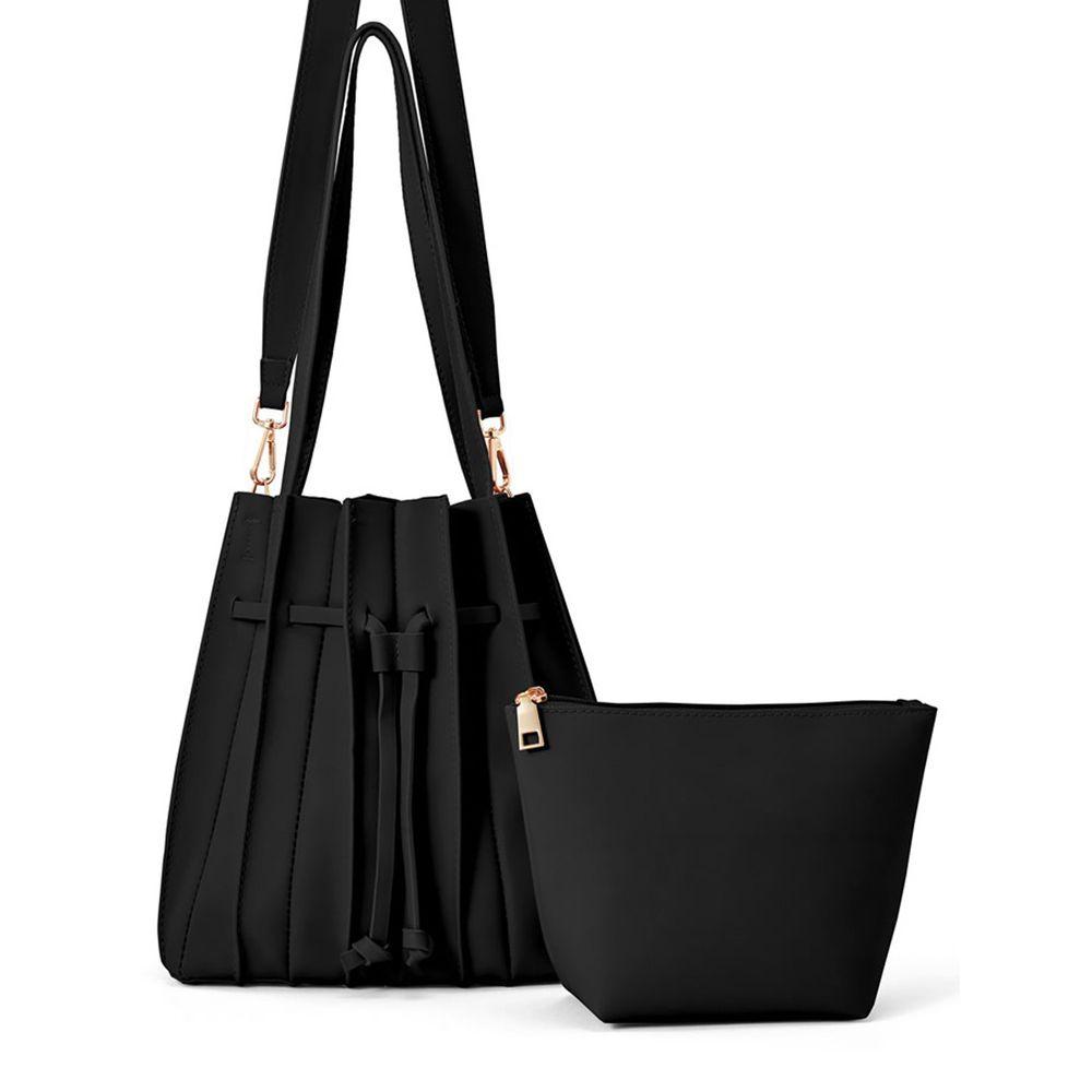 日本 GRL - 2way百褶肩背子母包-時尚黑