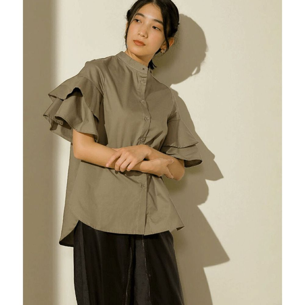 日本 Bou Jeloud - 雙層荷葉設計短袖襯衫-墨綠