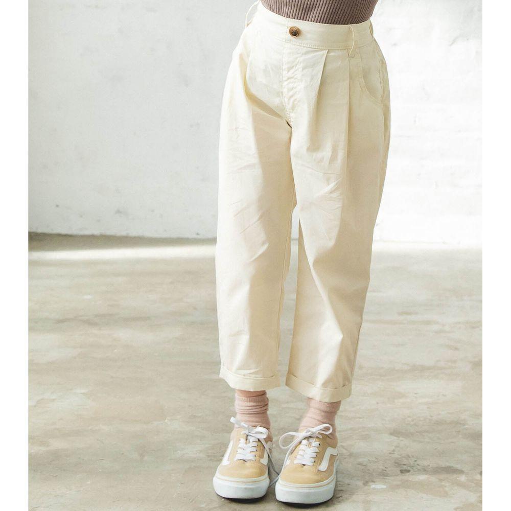 日本 PAIRMANON - 純棉輕薄帥氣打褶哈倫長褲-米白