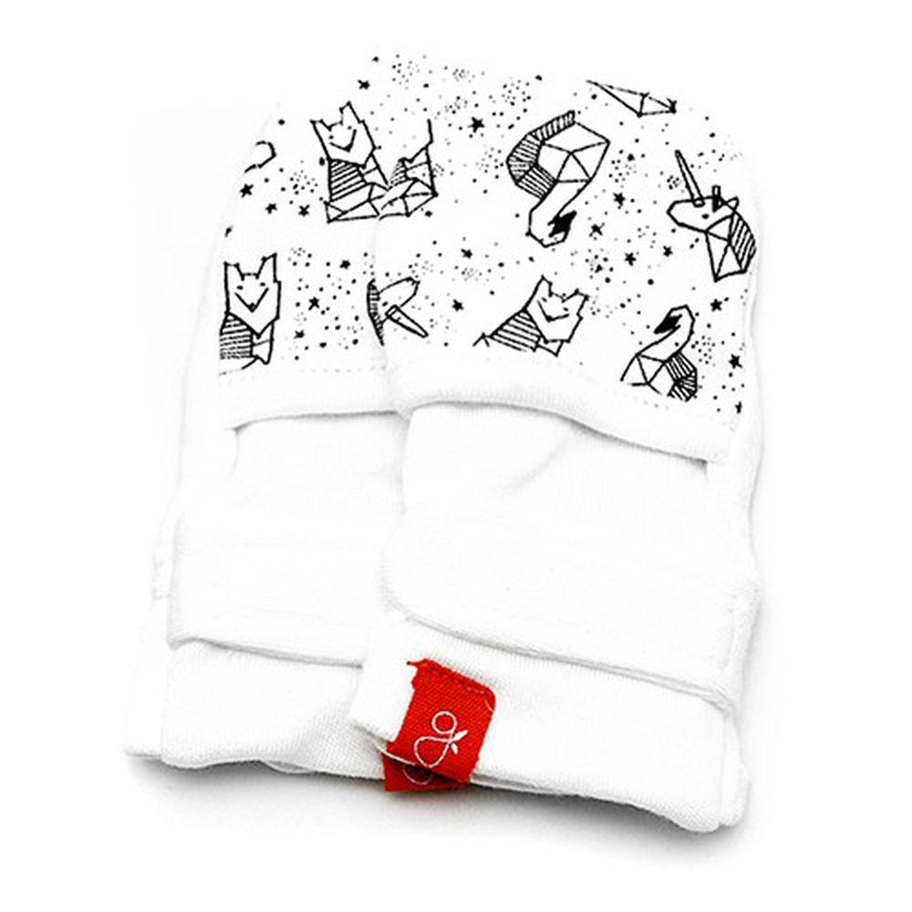 美國 GOUMIKIDS - 有機棉嬰兒手套-*聯名黑白款* 星空小動物
