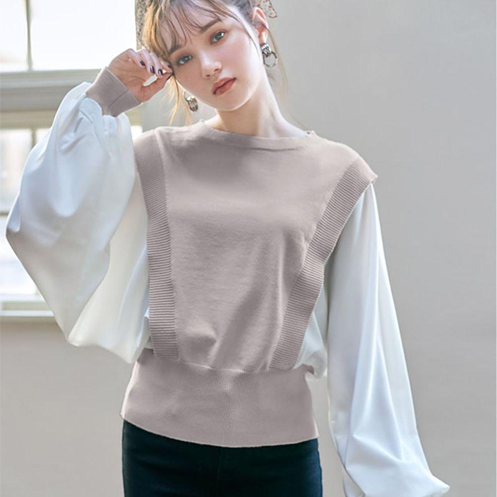 日本 GRL - 異材質拼接雪紡X針織澎袖長袖上衣-杏