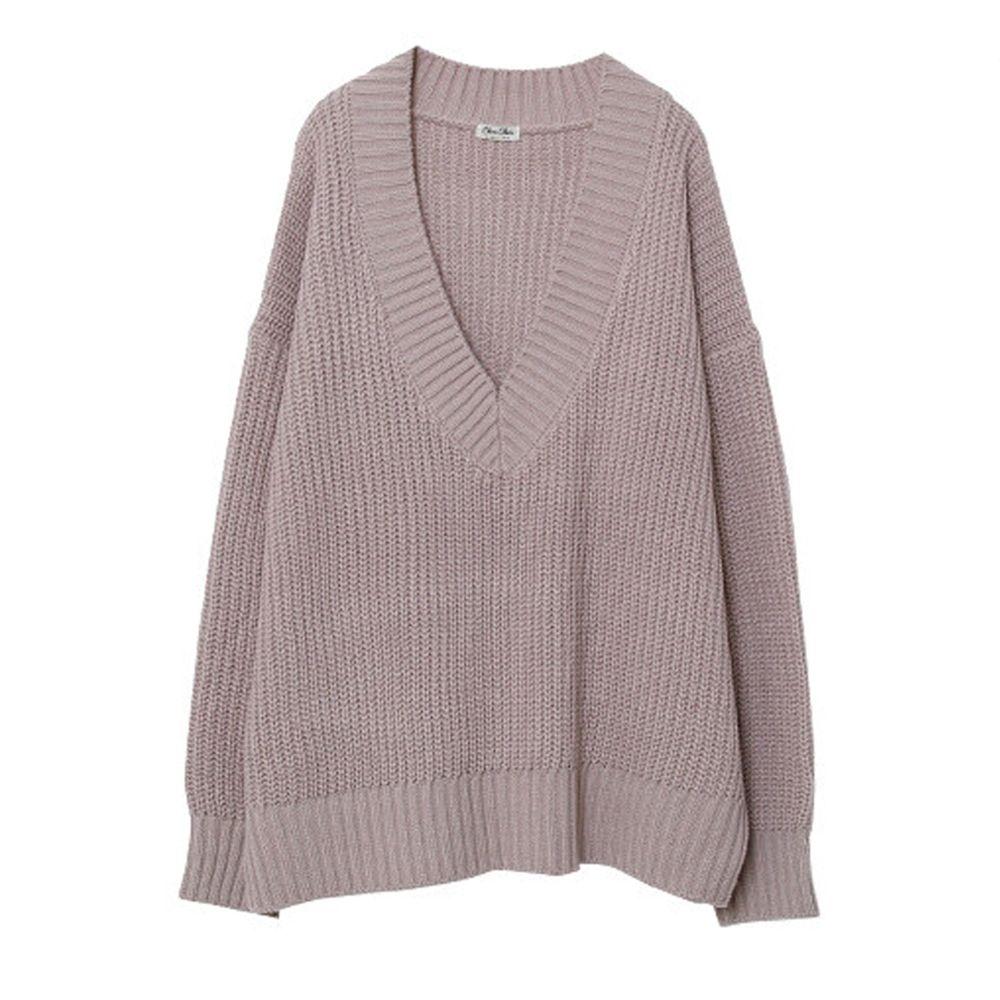 日本女裝代購 - 深V領粗坑紋針織上衣-杏粉 (M(Free size))