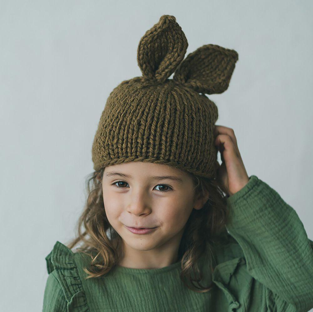 日本 riziere - 兔耳朵針織毛帽-卡其棕