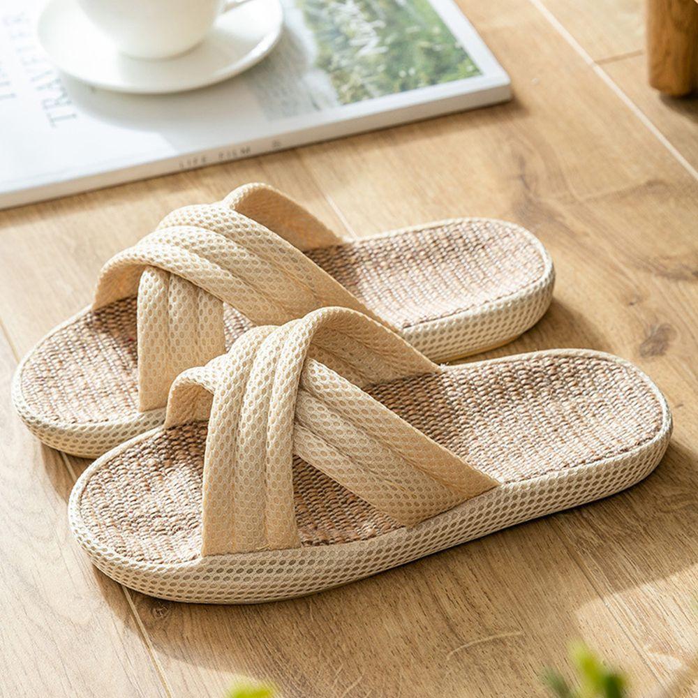 亞麻室內拖鞋-交叉款-微米色