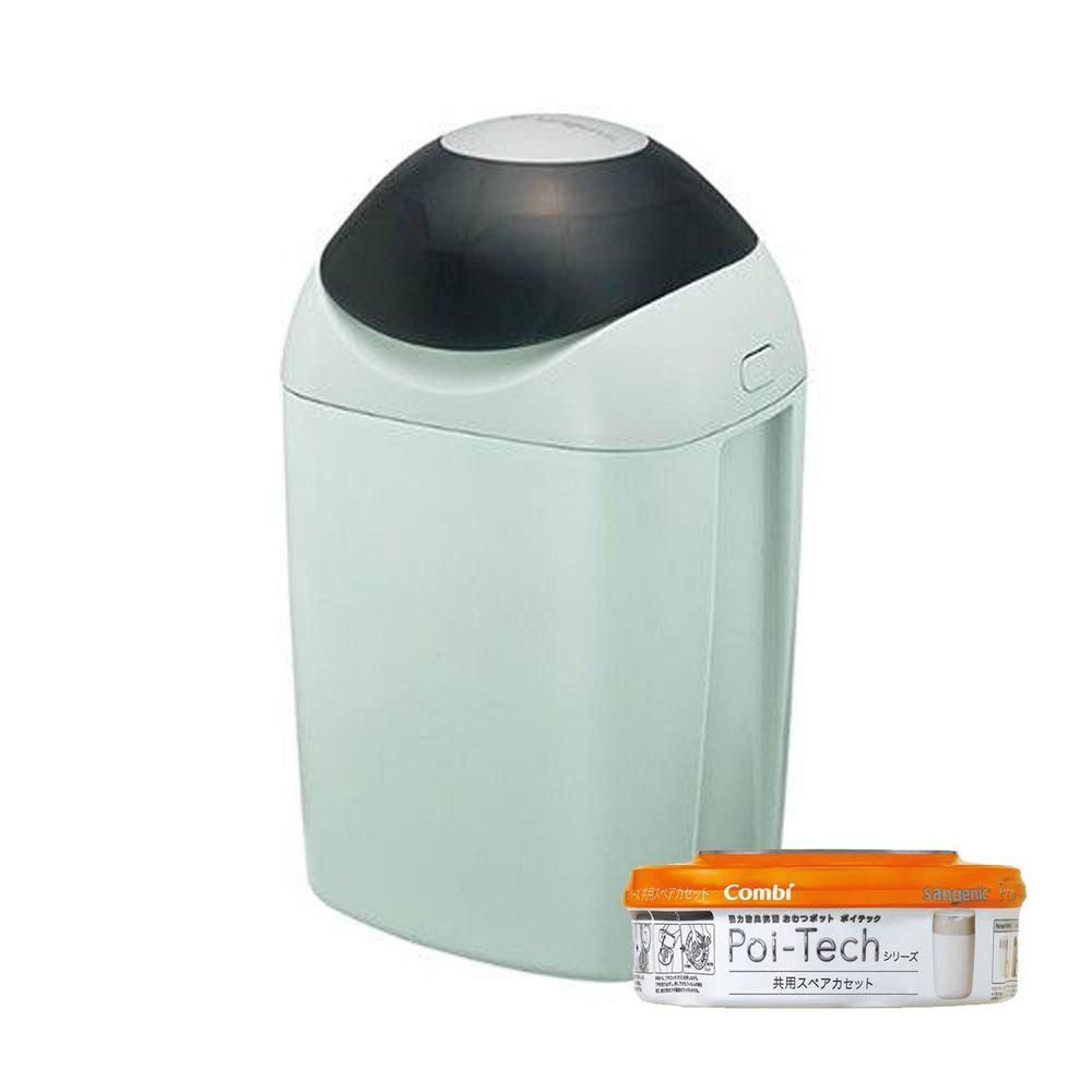 日本 Combi - Sangenic Poi-Tech 尿布處理器-清靜綠 (GR)-附專用衛生抗菌膠膜捲-柑橘香x1入組