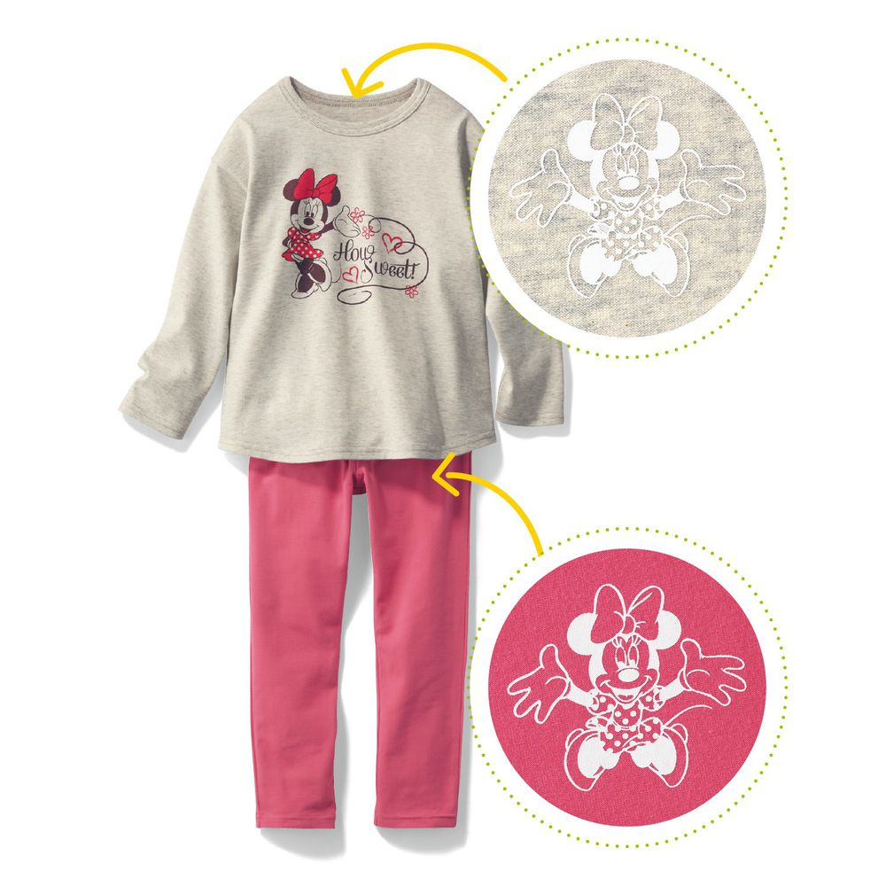 日本千趣會 - 迪士尼百搭長袖套裝-米妮愛心-燕麥粉